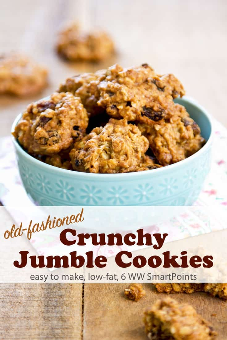 Nana's Crunchy Jumble Cookies are a childhood favorite sweet treat with just 120 calories and 6 Weight Watchers Freestyle SmartPoints for 2 cookies! #simplenourishedliving #weightwatchers #wwsisterhood #wwfamily #ww #smartpoints #wwfreestyle #wwsmartpoints #easyhealthyrecipes #cookies #becauseitworks
