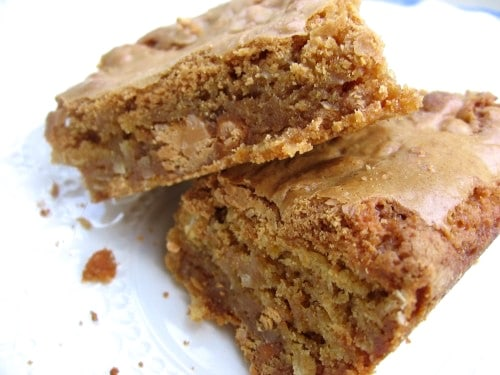 Two Butterscotch Blondies on a plate