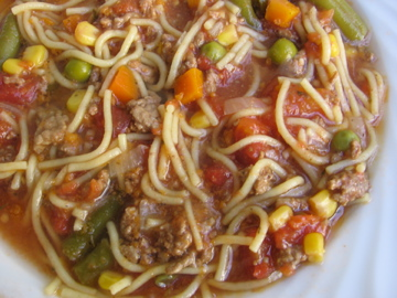 Hamburger Noodle Soup with Tomatoes, Peas, Carrots, Corn, Green Beans and Spaghetti Noodles