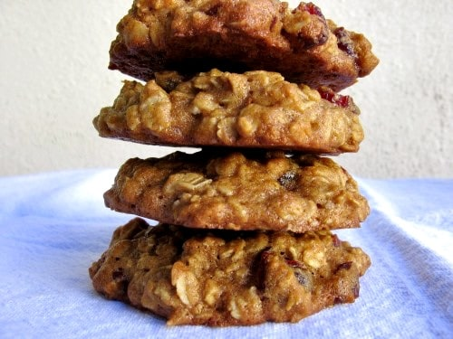 4 low-fat applesauce oatmeal cookies stacked on each other