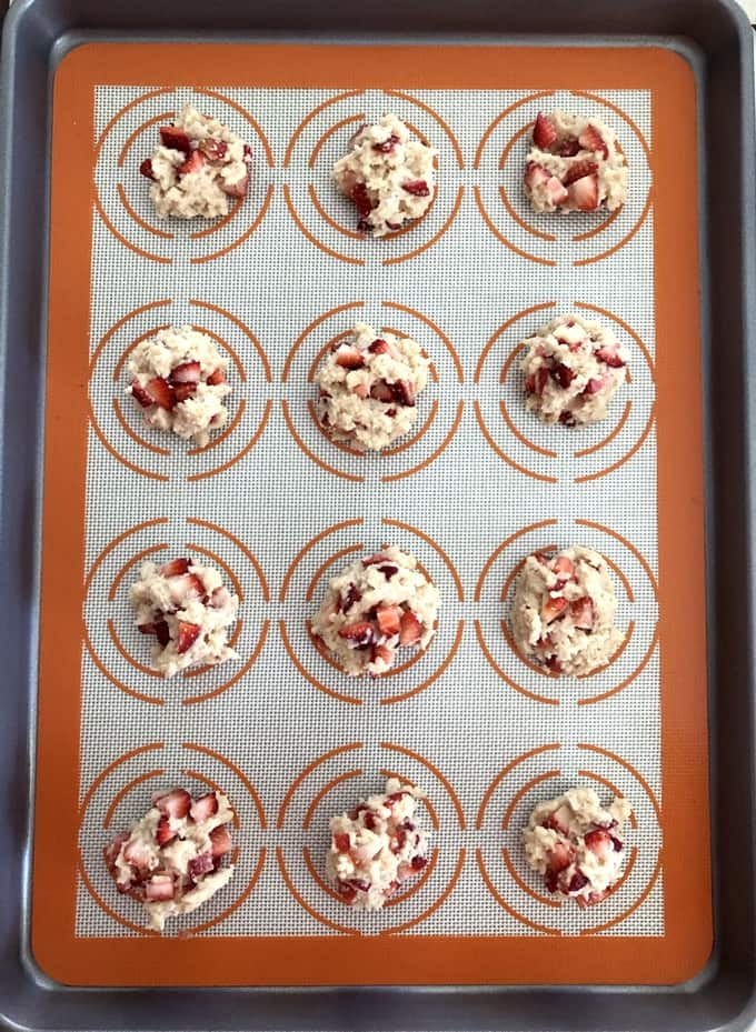 Baking sheet with strawberry shortcake cookie batter