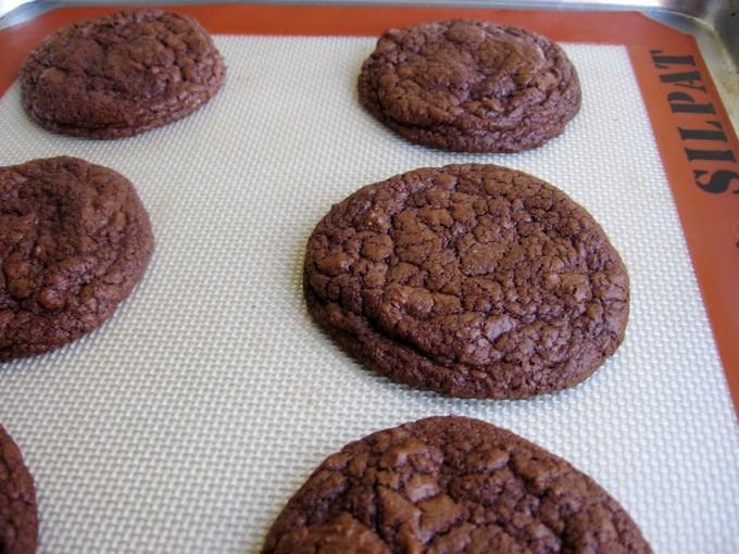 Fresh Baked Chewy Chocolate Cookies on Cookie Sheet with Silpat Liner