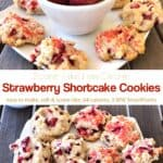 Plate of Strawberry Shortcake Cookies with a bowl of fresh strawberries
