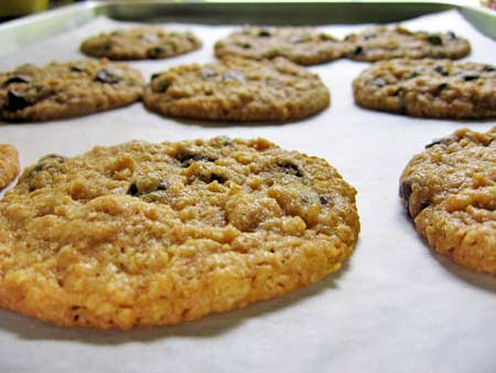 Soft and chewy cookies on a parchment-lined cookie sheet just pulled from the oven
