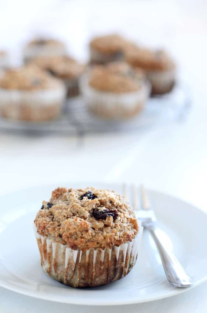 Bran muffin with raisins on a white plate with a fork and more muffins in the background