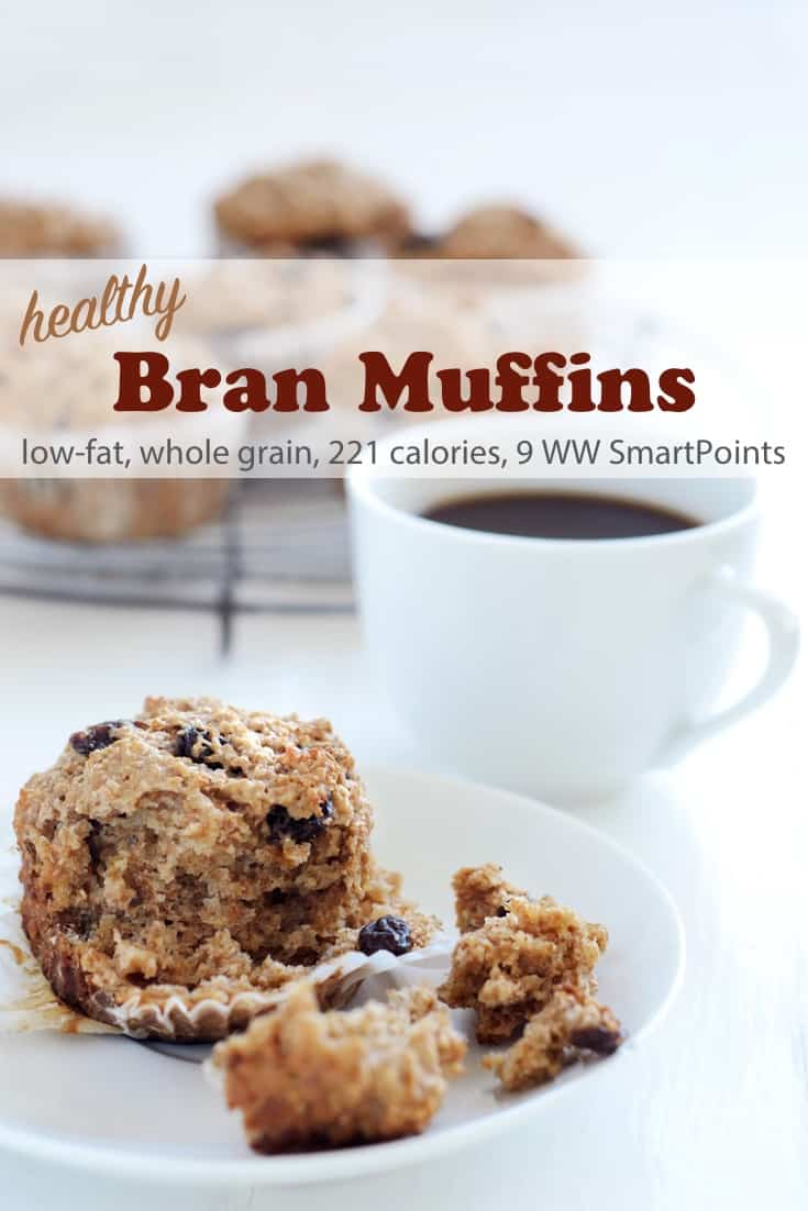 This recipe for healthy bran muffins results in muffins that are moist, chewy, not too heavy and not too sweet. Each muffin has about 211 calories and 9 Weight Watchers Freestyle SmartPoints! #simplenourishedliving #weightwatchers #ww #wwfamily #wwsisterhood #easyhealthyrecipes #smartpoints #wwfreestyle #wwsmartpoints #branmuffin