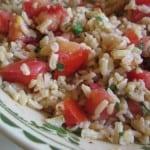 Tomato Brown Rice Basil Salad close up