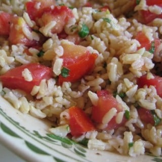 Tomato Brown Rice Basil Salad close up