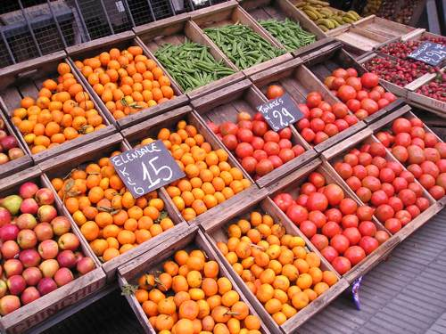 European Market Stand with Fresh Fruits and Vegetables
