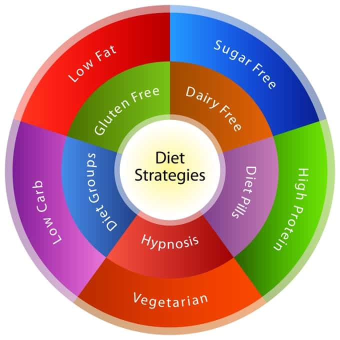 Colorful graphic showing different dieting strategies including low fat, low carb, sugar free, high protein, vegetarian and more