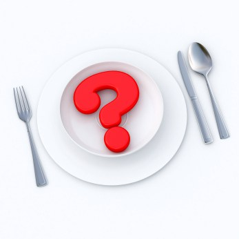 Graphic of table setting with fork, knife, spoon, white plate and a red question mark in a white bowl