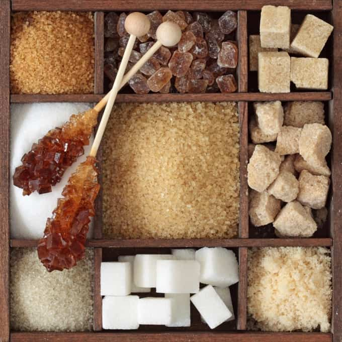 Various kinds of sugar in a square wooden box