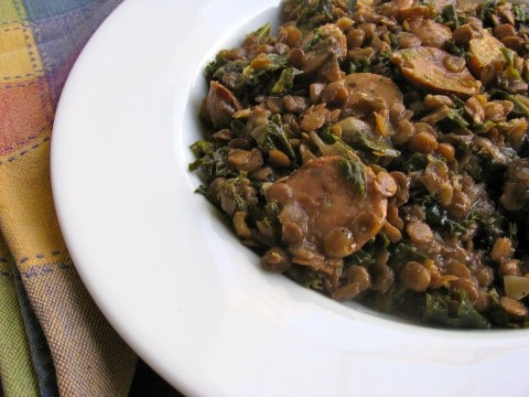 lentils, sausage and kale