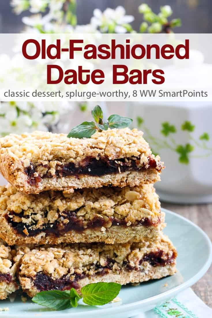 This Old-Fashioned Date Bars recipe is delicious as written and is also very flexible. It can be made with a variety of dried fruits such as raisins, dried cranberries, or chopped dried apricots instead of dates - about 176 calories & 8 Weight Watchers Freestyle SmartPoints! #simplenourishedliving #weightwatchers #ww #wwfamily #wwsupport #wwcommunity #dessert #wwdessert #smartpoints #smartpointsfam #wwfreestyle #wwsmartpoints #beyondthescale #becauseitworks