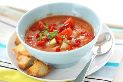 Spanish tomato-based raw vegetable soup Gazpacho