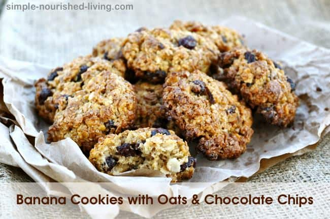 Healthy Banana Cookies with Oats Chocolate Chips