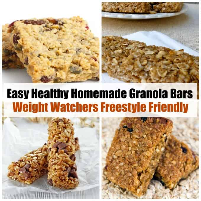 4 granola bar images collage with text