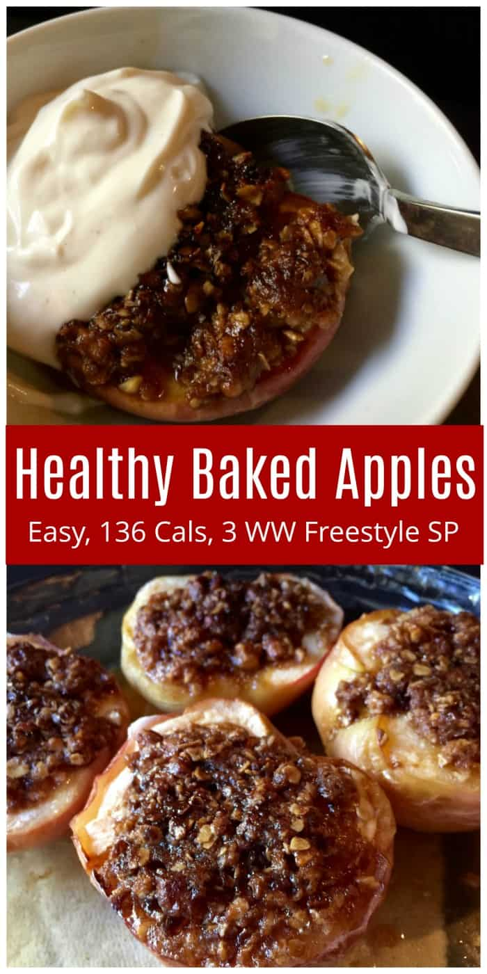 WW Freestyle Recipes: Easy Healthy Oven Baked Apples is  family-favorite dessert with just 136 calories (2 or 3 WW SmartPoints) depending on toppings used! #ovenbakedapples #apple #dessert