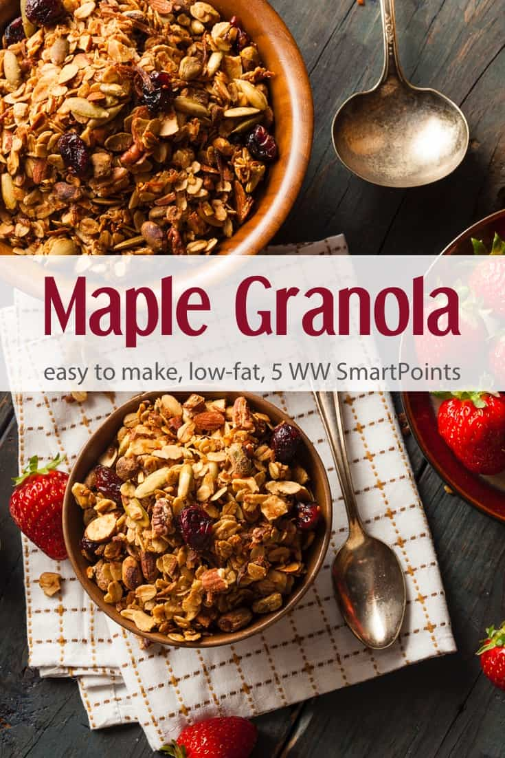 Maple Granola - My favorite granola recipe made with oats, wheat germ, cranberries, almonds and maple syrup - only 5 Weight Watchers SmartPoints! #simplenourishedliving #weightwatchers #ww #wwfamily #wwsisterhood #easyhealthyrecipes #granola #smartpoints #wwfreestyle #wwsmartpoints #becauseitworks