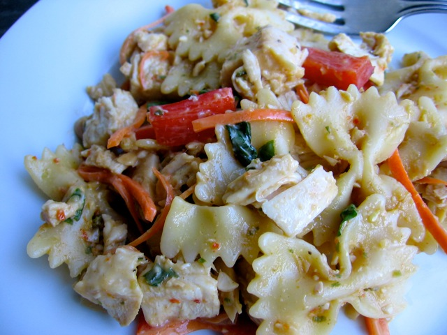 Healthy Satay Chicken Pasta Salad