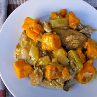Easy Healthy Slow Cooker Cider-Braised Chicken Thighs with Sweet Potatoes and Sage
