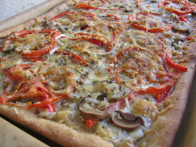 Easy Healthy 3 Cheese Garden Vegetable Pizza up close.