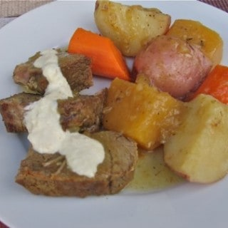 Simple Oven Pot Roast with Vegetables and Horseradish Sauce