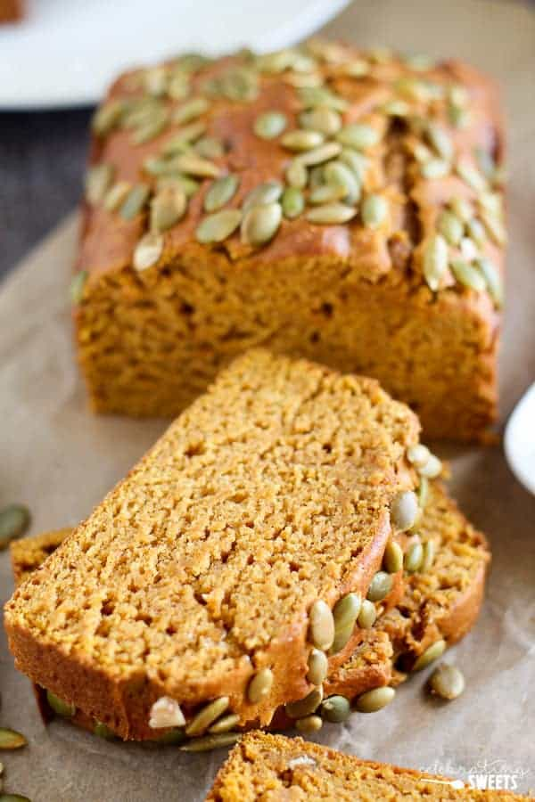 Loaf of Pumpkin Bread Topped with Pumpkin Seeds (Pepitas)