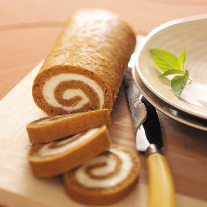 Pumpkin Cake Roll cut into slices