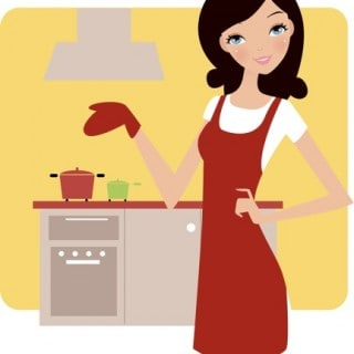 Woman in red apron cooking lighter