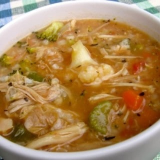 Easy Healthy Chicken Vegetable Rice Soup for Weight Watchers