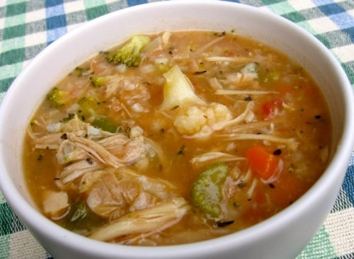 slim & chicken vegetable rice soup recipe