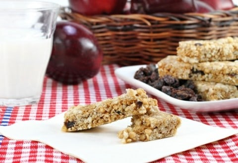 Granola Bars on a Red Checked Tablecloth