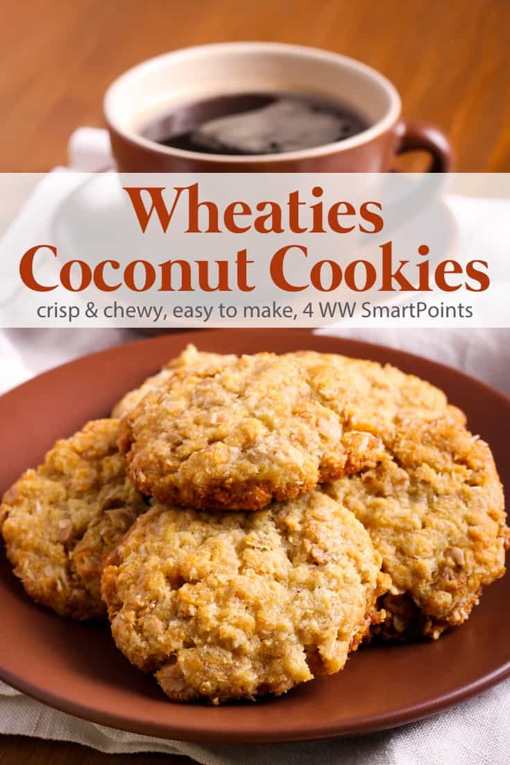 Crispy, chewy and sweet old-fashioned Wheaties Coconut Cookies made lighter - only 70 calories and 4 WW Freestyle SmartPoints! #wheatiescoconutcookies #cookies