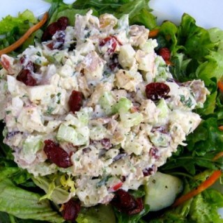 Healthy Chicken Salad with Apples and Cranberries bed of greens from above
