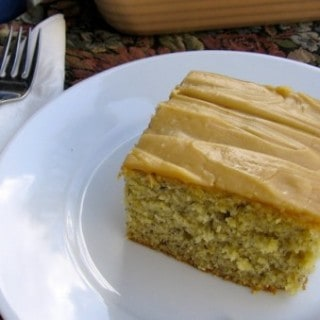 healthy low fat banana cake with peanut butter frosting