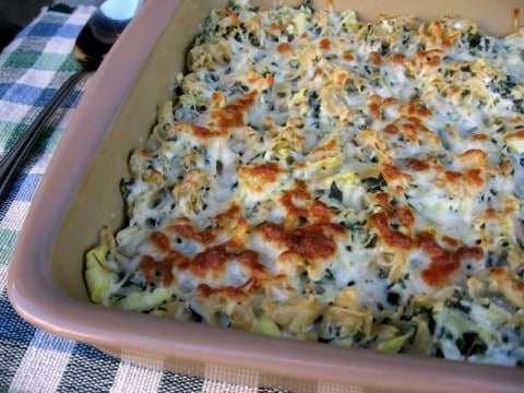 Skinny Artichoke Spinach Baked Pasta