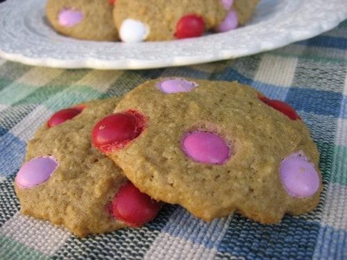 Skinny Valentine Holiday M&M Cookies