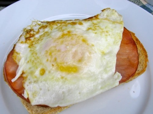 Skinny Open Faced Egg & Canadian Bacon Sandwich