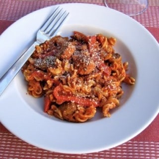 Skinny Pasta with Italian Sausage, Peppers, Onions & Mushrooms – 8 SmartPoints