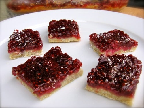 Skinny Raspberry squares on a white plate