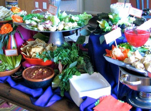 Super Bowl Party Buffet Table Laden with Food