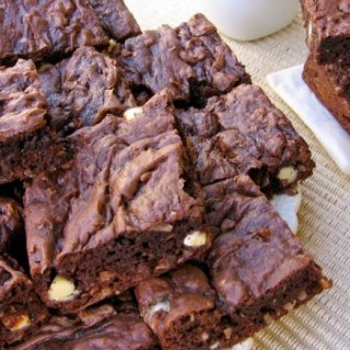 Plate of lighter chocolate coconut cake mix bar cookies