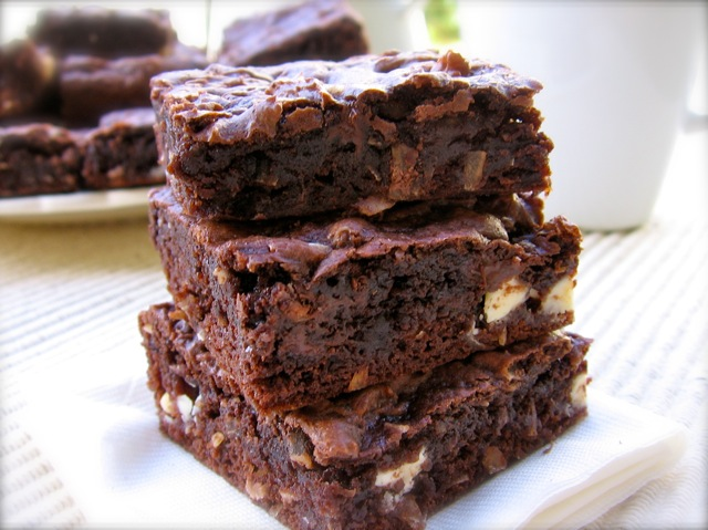 Tower of Chocolate Coconut Cake Mix Bar Cookies