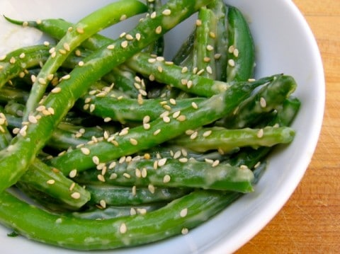 Homemade Miso Sesame Green Beans in white bowl.