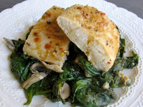 Skinny Baked Fish with Spinach & Simple Asian Sauce