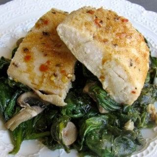 Baked Fish with Spinach and Asian Drizzle