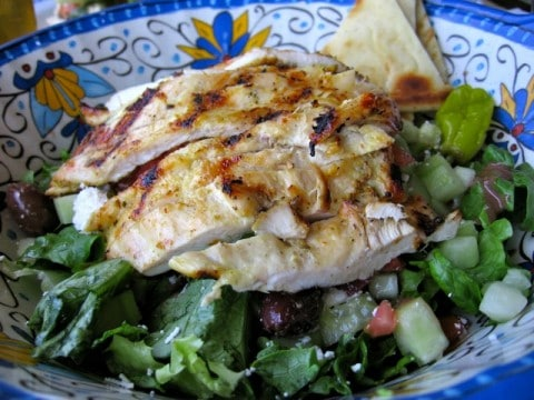 Grilled Chicken Greek Salad in colorful ceramic bowl