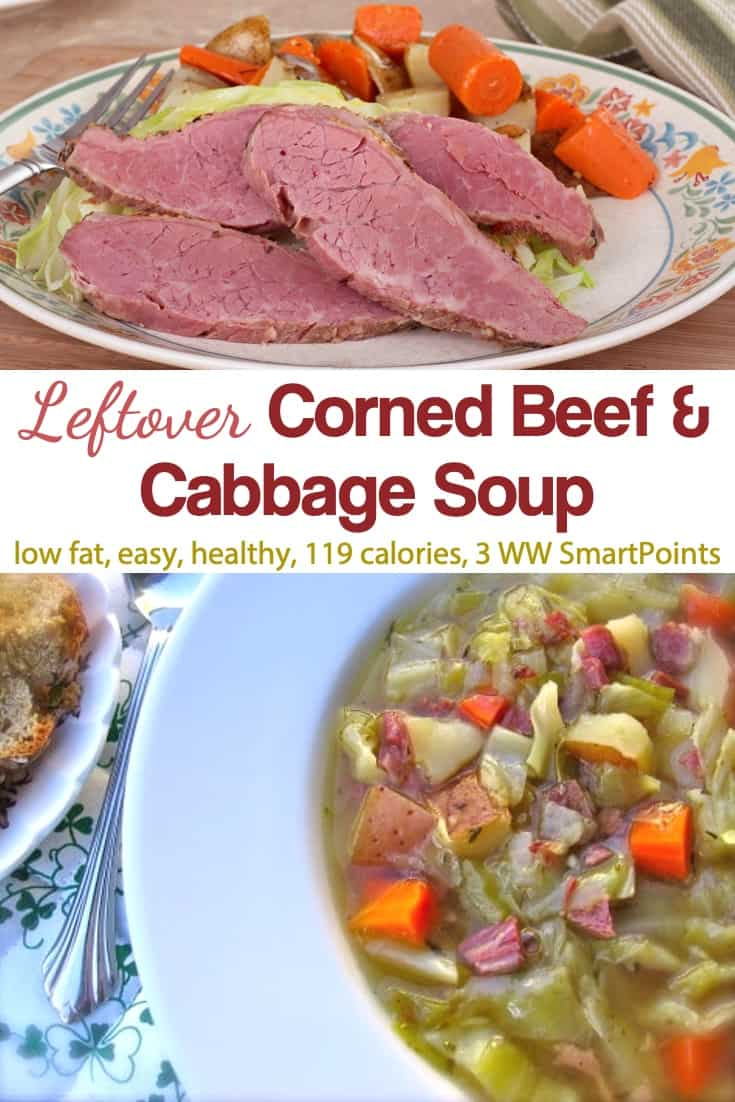 All the flavors of corned beef and cabbage in a deliciously simple low-fat, leftover Corned Beef and Cabbage Soup! #leftovercornedbeefcabbagesoup #cornedbeefcabbagesoup #cornedbeefsoup #cabbagesoup #leftoversoup #soup