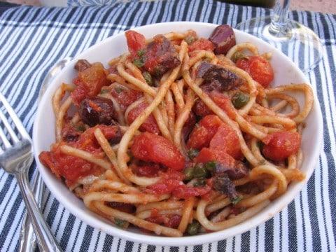 Spaghetti Puttanesca made Gluten-Free